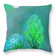 unbordered DREAM TREES AT TWILIGHT Throw Pillow by Mathilde Vhargon