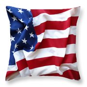 USA flag Throw Pillow by Les Cunliffe
