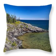 View of Rock Harbor and Lake Superior Isle Royale National Park Throw Pillow by Jason O Watson
