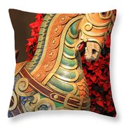Vintage Carousel Horse Throw Pillow by Suzanne Gaff