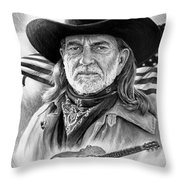 Willie Nelson American Legend Throw Pillow by Andrew Read