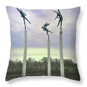 3 Angels Statue Philadelphia Throw Pillow by Bill Cannon