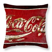 Coca Cola Sign Cracked Paint Throw Pillow by John Stephens