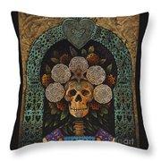 Dia De Muertos Madonna Throw Pillow by Ricardo Chavez-Mendez
