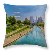Indianapolis Skyline From The Canal Throw Pillow by Ron Pate