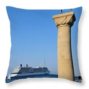 Mandraki Port Throw Pillow by George Atsametakis
