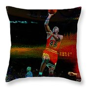 Michael Jordon Throw Pillow by Marvin Blaine