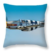 P-51 Mustang Throw Pillow by Puget  Exposure