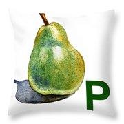 P Art Alphabet For Kids Room Throw Pillow by Irina Sztukowski