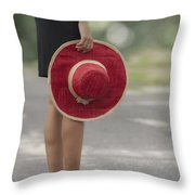 Red Sun Hat Throw Pillow by Joana Kruse