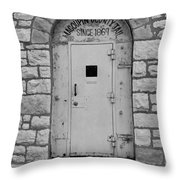 Route 66 - Macoupin County Jail Throw Pillow by Frank Romeo
