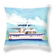 37 Foot Marine Trader 37 Trawler Yacht At Anchor Throw Pillow by Jack Pumphrey