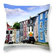 Colorful Houses In St. John's Throw Pillow by Elena Elisseeva