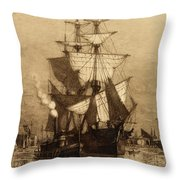 Historic Seaport Schooner Throw Pillow by John Stephens