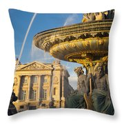 Paris Fountain Throw Pillow by Brian Jannsen