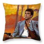 Scarface Throw Pillow by Viola El