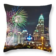 4th Of July Firework Over Charlotte Skyline Throw Pillow by Alex Grichenko