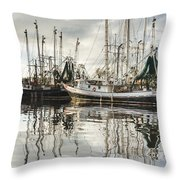 Bayou Labatre' Al Shrimp Boat Reflections Throw Pillow by Jay Blackburn