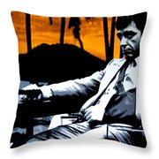 Scarface Throw Pillow by Luis Ludzska