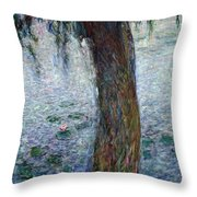 Waterlilies Morning With Weeping Willows Throw Pillow by Claude Monet