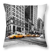 5th Avenue Yellow Cab Throw Pillow by John Farnan