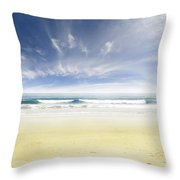 Beach Throw Pillow by Les Cunliffe