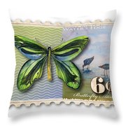 6 Cent Butterfly Stamp Throw Pillow by Amy Kirkpatrick