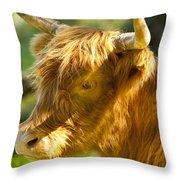 Highland Cow Throw Pillow by Brian Jannsen