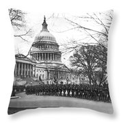 63rd Infantry Ready In Dc Throw Pillow by Underwood Archives