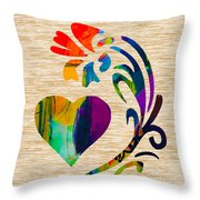 Heart And Flowers Throw Pillow by Marvin Blaine