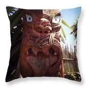 Maori Carving Throw Pillow by Les Cunliffe
