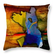 Oakland Map And Skyline Watercolor Throw Pillow by Marvin Blaine