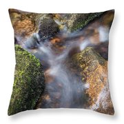 Landscape Of Becky Falls Waterfall In Dartmoor National Park Eng Throw Pillow by Matthew Gibson