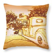 A And W Drive In Throw Pillow by Bobbee Rickard