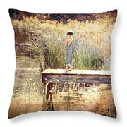 A Boy Fishing Throw Pillow by Jt PhotoDesign