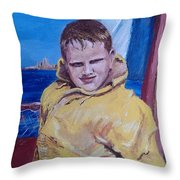 A Boy on a Boat Throw Pillow by Jack Skinner