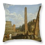 A Capriccio View Of Roman Ruins, 1737 Throw Pillow by Giovanni Paolo Pannini or Panini