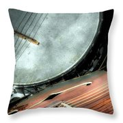 A Classic Pairing Digital Guitar and Banjo Art by Steven Langston Throw Pillow by Steven Lebron Langston