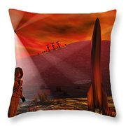 A Colony Being Established On An Alien Throw Pillow by Mark Stevenson