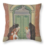 A Couple In Candlelight Throw Pillow by Georges Barbier