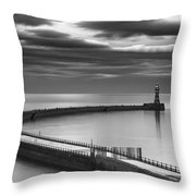 A Curving Pier With A Lighthouse At The Throw Pillow by John Short