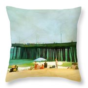 A Day At The Beach Throw Pillow by Darren Fisher