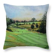 A Day's Golf Original Painting Sold Throw Pillow by Andrew Read