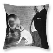 A Dog Listens To Gramaphone Throw Pillow by Underwood Archives