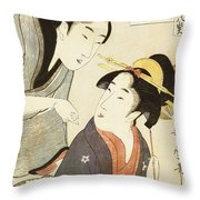 A Double Half Length Portrait Of A Beauty And Her Admirer Throw Pillow by Kitagawa Utamaro