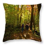A Fall Walk With My Best Friend Throw Pillow by Sandi OReilly