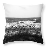 A Gray November Day At The Beach Throw Pillow by Susanne Van Hulst