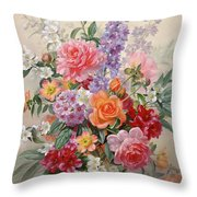 A High Summer Bouquet Throw Pillow by Albert Williams