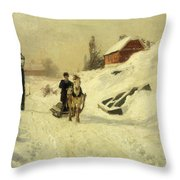 A Horse Drawn Sleigh In A Winter Landscape Throw Pillow by Fritz Thaulow