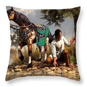 A Hunter And His Horse Throw Pillow by Daniel Eskridge
